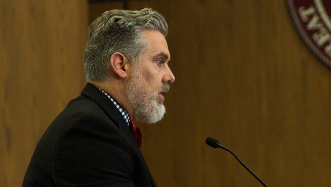 Prosecutor Nicholas Gilbert makes his opening statement, June 27, 2016, in the trial for former Las Cruces Police Department Officer Richard Garcia who is accused for beating Ross Flynn in a police holding cell on Dec. 23, 2014.