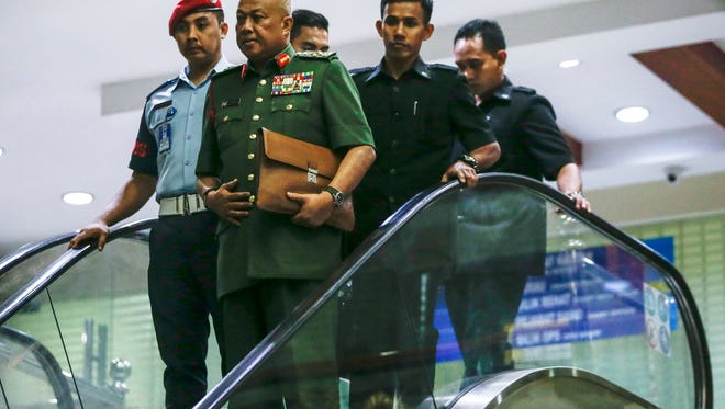 Malaysia Armed Forces Chief General Raja Mohamed Affandi Raja Mohamed Noor leaves the Royal Malaysia Force base after a National Security Council emergency meeting in Subang, Malaysia, on March 7, 2017.