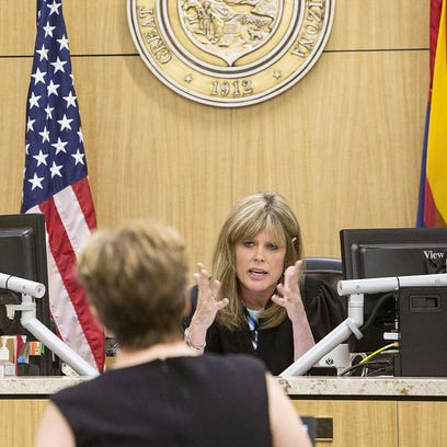 Judge Dawn Bergin listens to Glendale's outside attorney