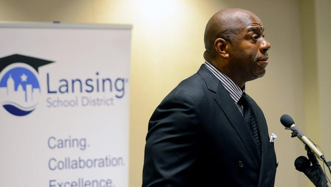 "Earvin ""Magic"" Johnson speaks at a press conference before the Lansing Promise dinner and event Thursday, April 21, 2016, at the Lansing Center in downtown Lansing."