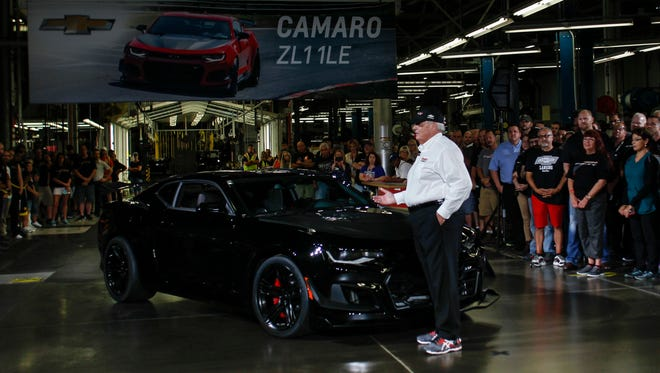 Rick Hendrick of Hendrick Motorsports, right, drove the first 2018 Chevrolet Camaro ZL1 1LE off the line at the Lansing Grand River assembly plant  Thursday, Aug. 10, 2017.