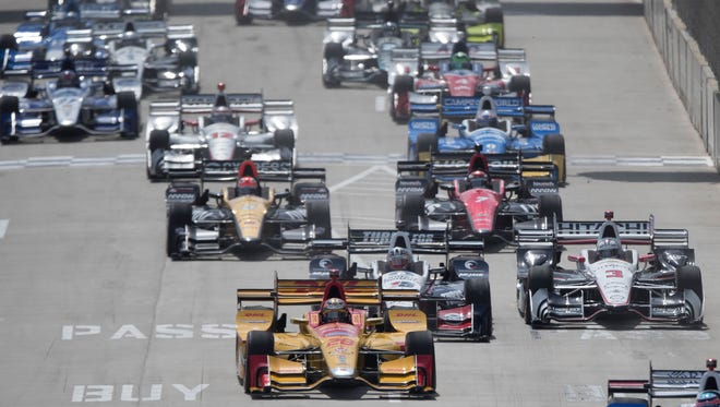 Cars start the Chevrolet Detroit Grand Prix IndyCar Championship Sunday, June 4 , 2017 on Belle Isle in Detroit.