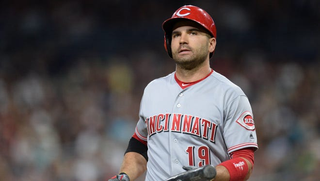 Joey Votto led the NL in on-base percentage for the fifth time in the last seven years.