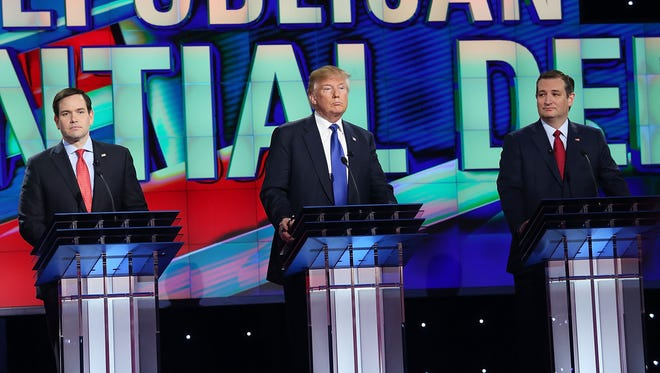 Marco Rubio, Donald Trump and Ted Cruz take part in the Republican debate in Houston on Feb. 25, 2016.