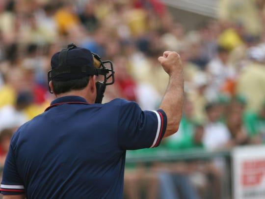Umpire makes call