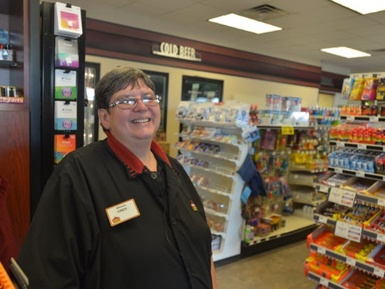 Cindy Dreesman works as an EMT and a cashier at Casey's General Store in Grundy Center, Iowa. She did not plan to attend the caucus that night, Feb. 1, 2016.