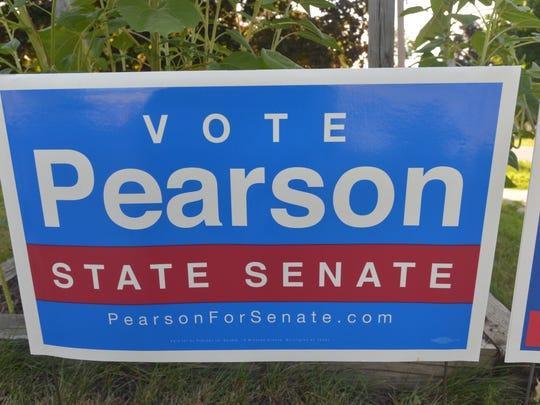 A sign supporting Chris Pearson's beat for a spot on the Democratic ticket for a Chitteden County Senate seat stands on the grounds of Orchard School in South Burlington, Tuesday, Aug. 9, 2016.