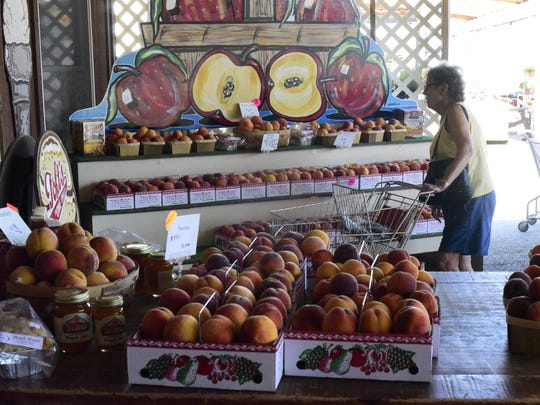Peaches for sale at Bergman Orchards in Port Clinton.