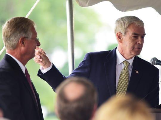 Rep. Steve Arndt, left, and Sen. Randy Gardner address