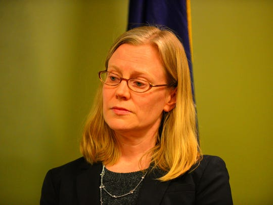 Acting U.S. Attorney for Vermont Eugenia Cowles listens on Friday, April 21, 2017, at the South Burlington police station at a news conference annoucing the arrest of Josiah Leah, 18, of South Burlington, a suspect  in the series of threats to students and teachers at the high school during the past week.