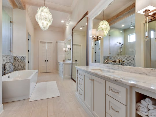 The master bath is a custom contemporary design.