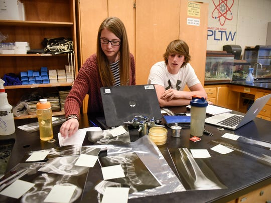 Emily Weidner and Garrett Levsink work on a project during a Project Lead the Way class Thursday, April 27, at Paynesville High School.