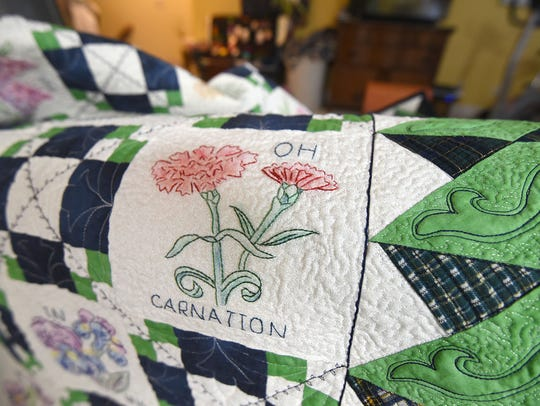 A close-up look at one of Deb Ramsey's quilting creations.