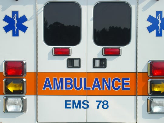 Image shows back of ambulance.