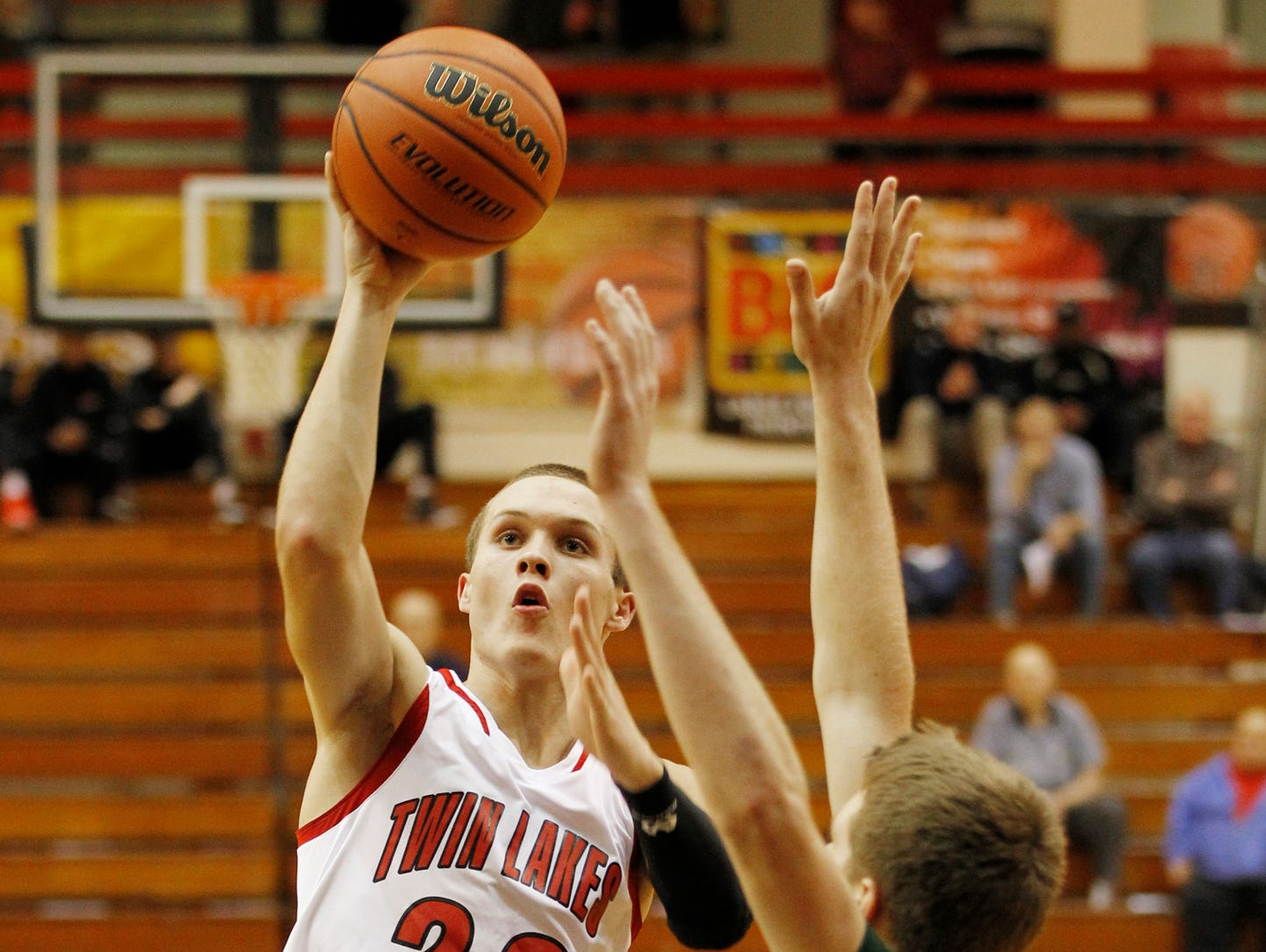 Bryce Bennington of Twin Lakes drives for a score against Benton Central in the J&C Hoops Classic Monday, November 30, 2015, at Jefferson High School. Twin Lakes thumped Benton Central 75-44.