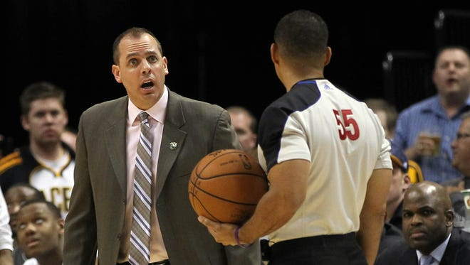 Indiana Pacers head coach Frank Vogel talks to referee Bill Kennedy (55) during the third quarter against the Atlanta Hawks at Bankers Life Fieldhouse. Atlanta won 107-88.