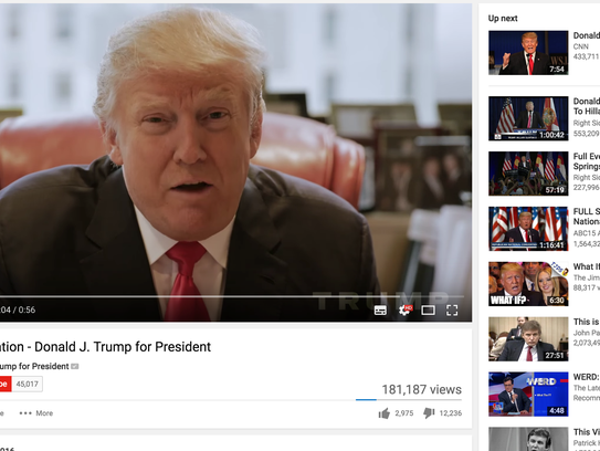 Donald Trump's YouTube page