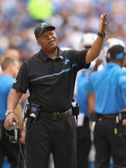 Lions head coach Jim Caldwell is unhappy about something.