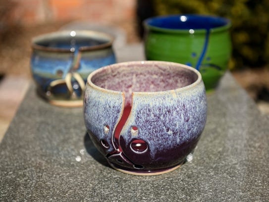 Yarn bowls created by potters Ryan Lack and Kelly Haehl