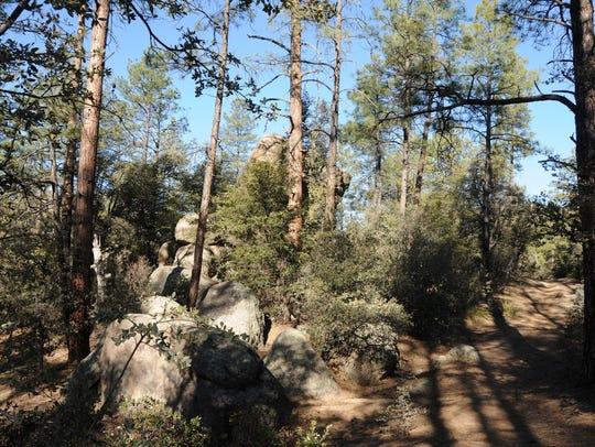 Massive granite boulders line the West Lake Trail in