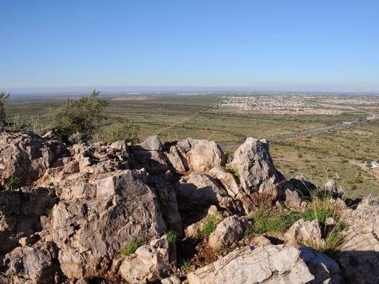 The summit of Silly Mountain opens on a wide vista near Apache Junction.