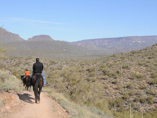 Hikers, equestrians and mountain bikers share the trails