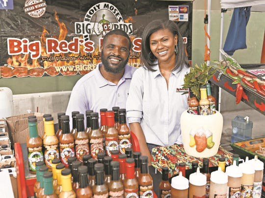 Tasia and Paul Ford of Big Red's Hot Sauce.