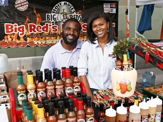 Big Red's hot sauce owners Tasia and Paul Ford are among the vendors you'll likely find at the Mercado del Lago shopping Center at McCormick Ranch in Scottsdale.