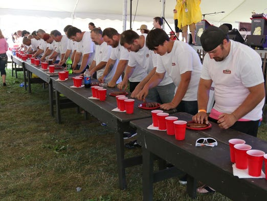 The start of the brat eating contest Saturday August 2, 2014 in Sheboygan.