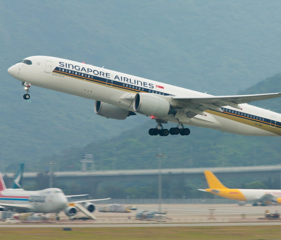 A Singapore Airlines Airbus A350-900 takes off from Hong Kong International Airport on April 18, 2018.