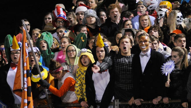 Palmyra fans during the game against Milton Hershey on Friday, October 30, 2015.