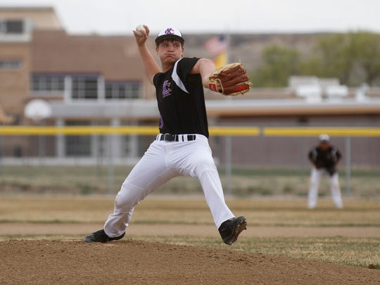 Kirtland Central's Cadan Flack pitches against Navajo