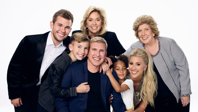 """Cast of the Nashville-based USA Network reality show """"Chrisley Knows Best"""": left to right, Chase Chrisley, Grayson Chrisley, Julie Chrisley, Todd Chrisley, Chloe Chrisley, Savannah Chrisley and Faye Chrisley"""