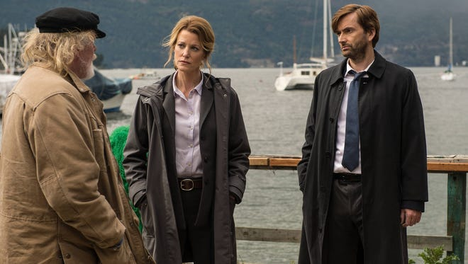 Nick Nolte, left, Anna Gunn and David Tennant star in 'Gracepoint,' the Fox drama based on a British series.
