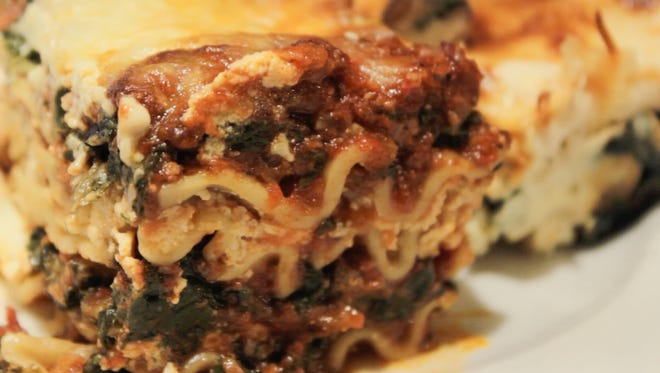 Old-fashioned meat sauce lasagna is quick and easy to make in the lasagna trip pan.