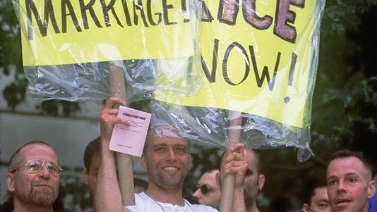 The gay marriage movement took root in the 1990s, as was evident during New York City's Gay Pride Parade in 1996.