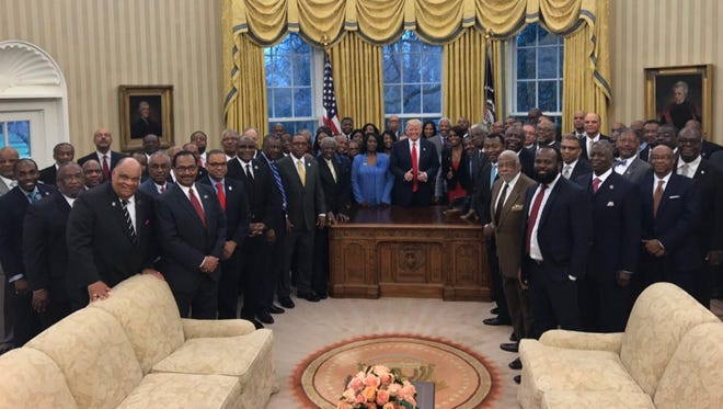 Lane College President Logan Hampton (first row, second from left) was invited to the Oval Office on Tuesday as part of the HBCU delegation.