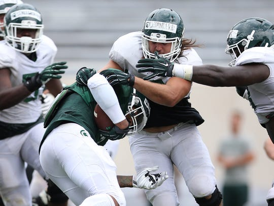Michigan State's first preseason scrimmage Thursday, Aug. 10, 2017 at Spartan Stadium in East Lansing.