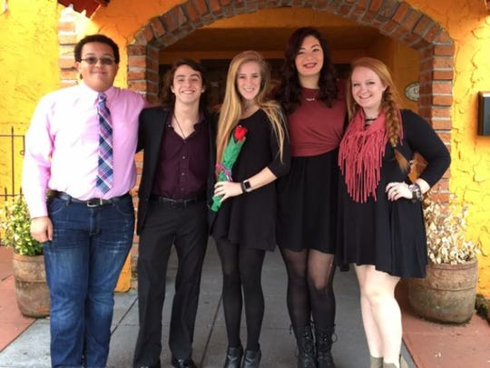 Farragut High School choral students Connor Yeary, Liam Gorfido, McKenzie Ayers, Montana Michael-Ivester and Sydney Coffey delivered singing valentines last February.