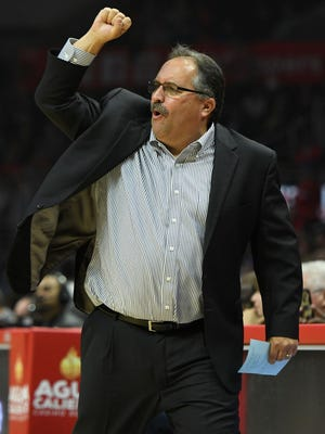 Pistons coach Stan Van Gundy reacts on the sidelines during the first quarter of the loss to the Lakers on Oct. 28, 2017, in Los Angeles.