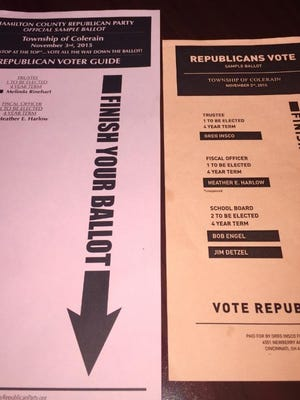 The official Republican sample ballot, left, and the sample ballot distributed by Greg Insco and his supporters on the right, share a number of similarities and GOP officials say this was done deliberately to confuse voters.