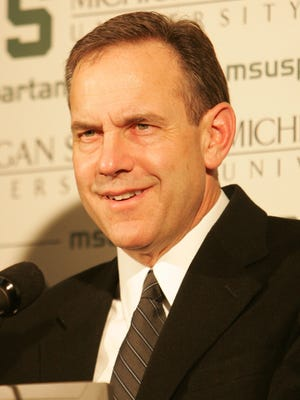 Michigan State coach Mark Dantonio meet with the press to talk about high school seniors that signed to play for the Spartans, Feb. 7, 2007, at the Breslin Center.