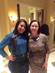 Nancy Sanchez poses with Heights Foundation CEO Kathryn Kelly. Sanchez joined the Tutor Corps when she was a junior at Immokalee High School. Sanchez became a mentor and tutor to younger students after school and in the summer, and in turn she was mentored by an adult assigned by the Guadalupe Center. Sanchez graduated from Barry University in 2013 with a master's in social work. Today, she is the program coordinator for the Heights Foundation in Fort Myers, which provides tutoring for academically at-risk students, job training for parents, and other critical services for those living in poverty.