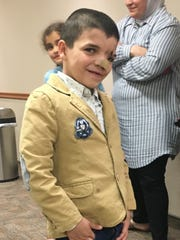 File photo: Mustufa Khaleel Mahmoud Issa, a 9-year-old boy from Palestine, is pictured in April prior to undergoing a rare operation at Willis-Knighton South.