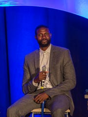 Former University of Kentucky basketball player Nazr Mohammed was honored during the team's tipoff luncheon, in Louisville. Oct. 31, 2017.