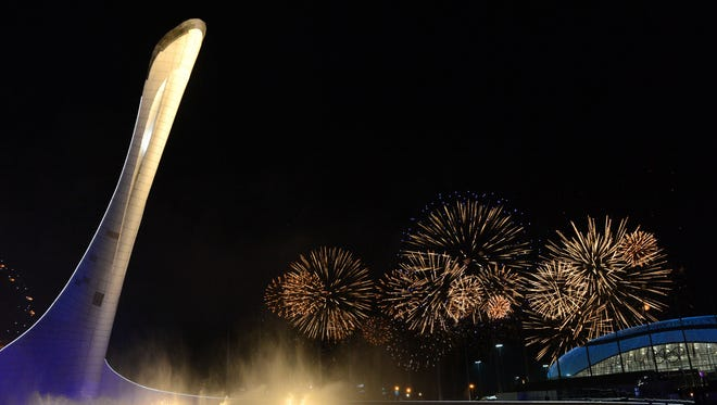 A general view of fireworks during the closing ceremony.