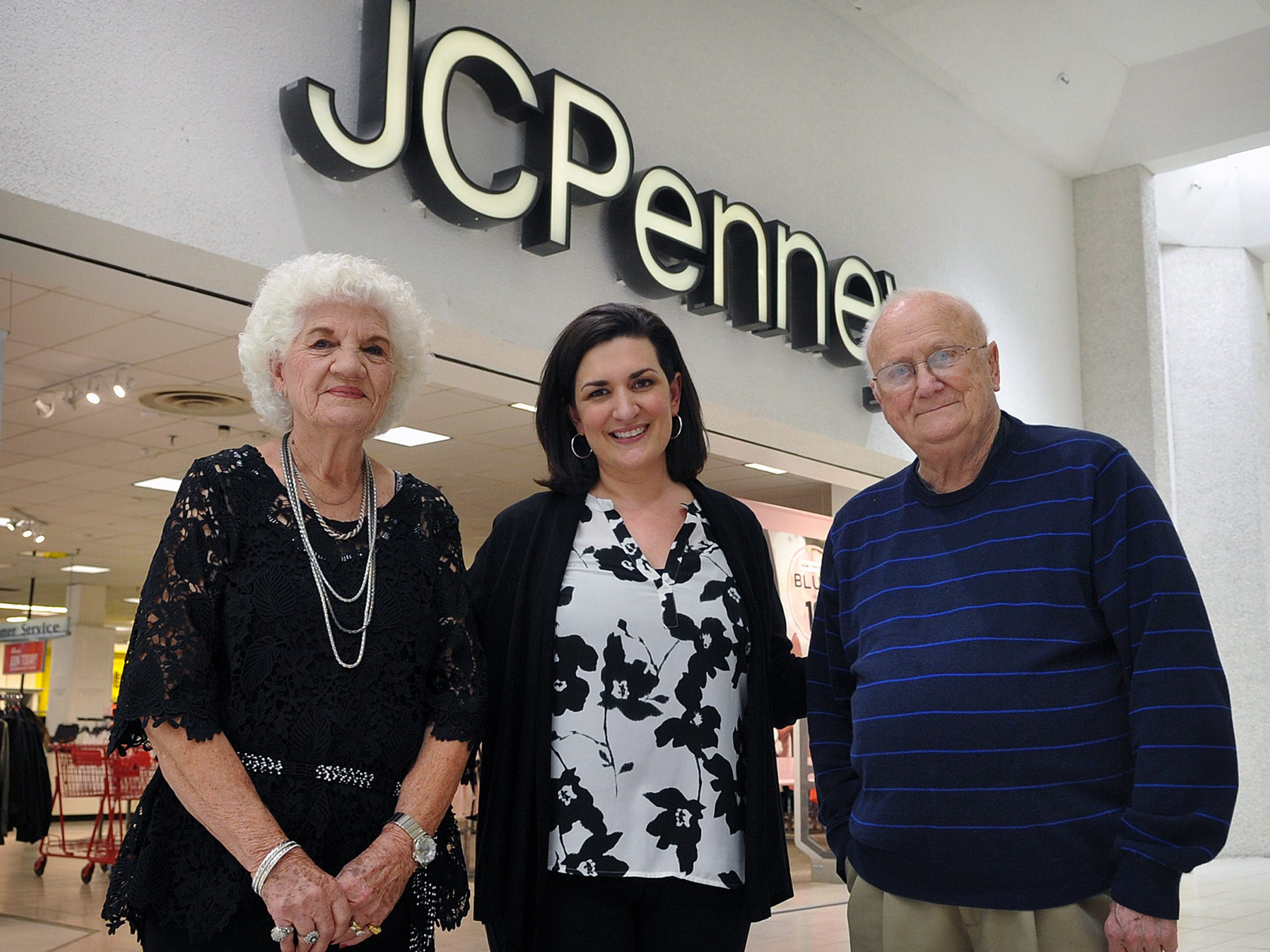 Kathleen Lauck, center, is the general manager of the JCPenney store and stands with James J. Miles who was the GM here for 16 of his 40 years with the company. Peggy Blankenship, left, worked for JCP since 1969, starting at the downtown location on Indiana and hired Lauck more than 25 years ago. JCP is marking 100 years in business in Wichita Falls.