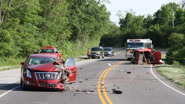 Police closed Memorial Parkway Saturday afternoon to investigate the scene of the two-vehicle accident.