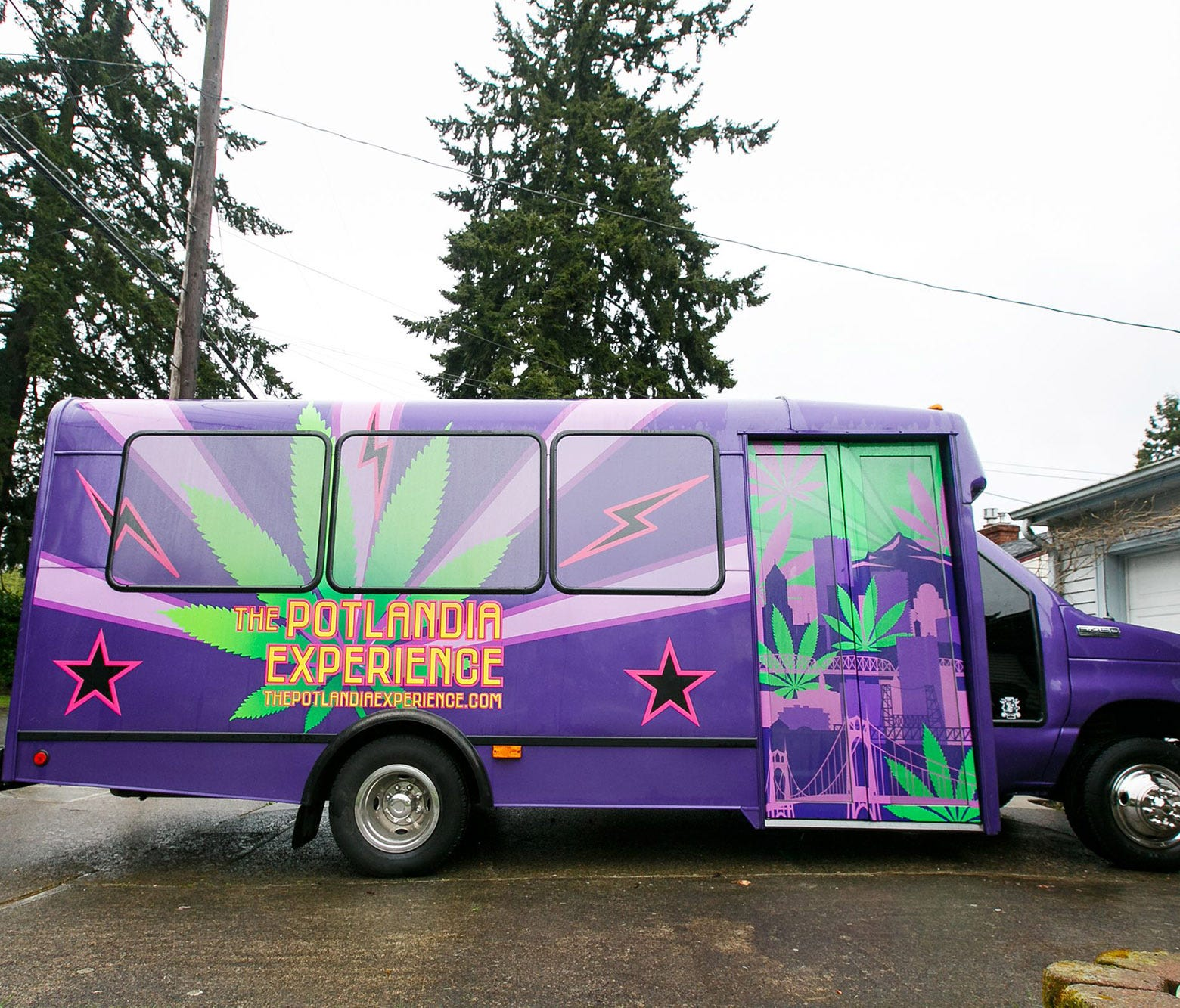 The Potlandia Experience, started by Camille Gonzalez, takes customers on a four-hour-and-20-minute tour of marijuana stores, a brewery and food carts in Portland, Ore. The party bus is a converted airport shuttle that can seat 14 people.