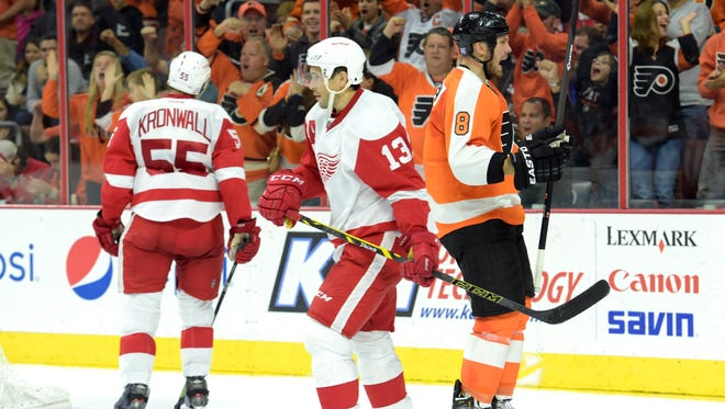 Philadelphia Flyers defenseman Nicklas Grossmann (8) celebrates his goal against the Detroit Red Wings during the second period at Wells Fargo Center.